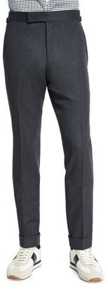 TOM FORD O'Connor Base Flannel Tailored Trousers, Charcoal $1,160 thestylecure.com
