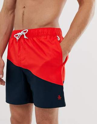 522009ee14 Original Penguin icon logo colourblock swim shorts in navy/red