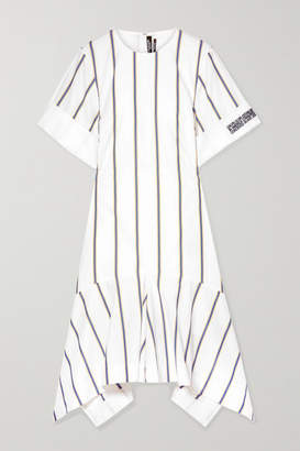 Calvin Klein Asymmetric Striped Embroidered Cotton-poplin Dress - White