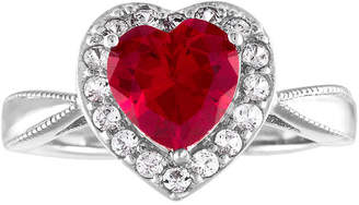 FINE JEWELRY Womens Lab Created Red Ruby Sterling Silver Heart Cocktail Ring