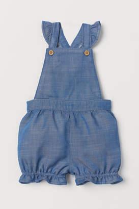 H&M Ruffled Bib Overall Shorts - Blue