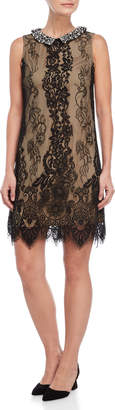 Betsey Johnson Embellished Collar Lace Sheath Dress