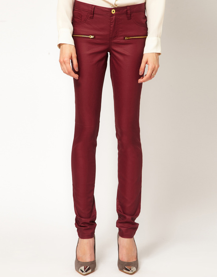 Vila Coated Zip Pocket Jeans