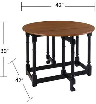 SAM. Southern Enterprises Drop-Leaf Dining Table, Farmhouse, Black