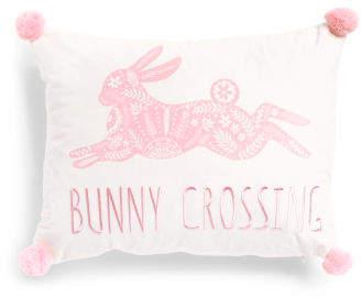 14x18 Bunny Crossing Velvet Pillow