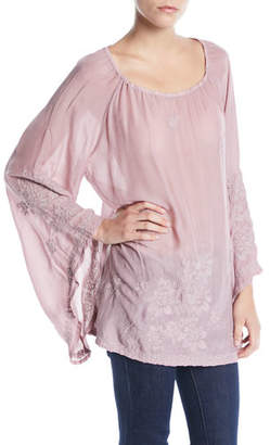 Johnny Was Fay Embroidered Flare-Sleeve Top