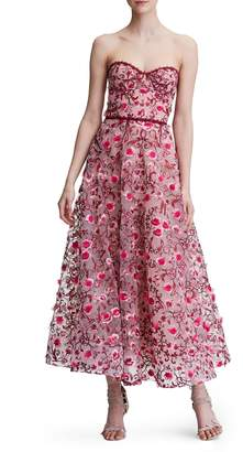 Marchesa Floral Embroidered Strapless Tea Length Gown