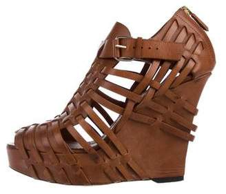 Givenchy Leather Multistrap Wedge Sandals