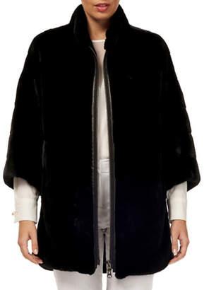 Gorski 3/4-Sleeve Zip-Front Short Nap Mink Fur Jacket