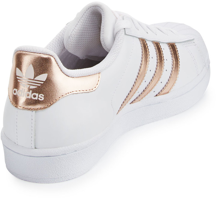 Adidas Superstar Original Fashion Sneaker, White/Rose Gold 4