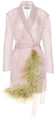 Prada Feather-trimmed silk organza coat