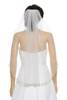Venus Jewelry 1T 1 Tier Pearl Silver Beads Flower Bridal Veil - V411