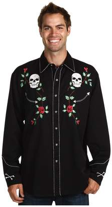 Scully Skull Roses Shirt Men's Long Sleeve Button Up