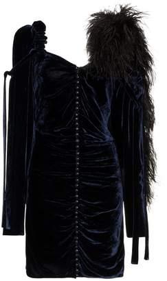 Magda Butrym feather boa velvet mini dress