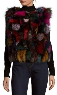 Surell Dyed Fox Fur Sleeveless Vest