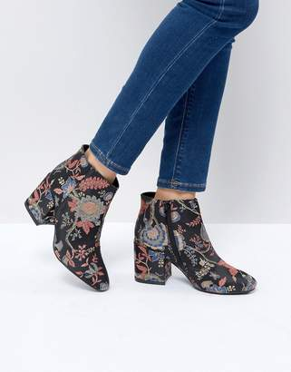 boohoo Jacquard Floral Heeled Ankle Boot
