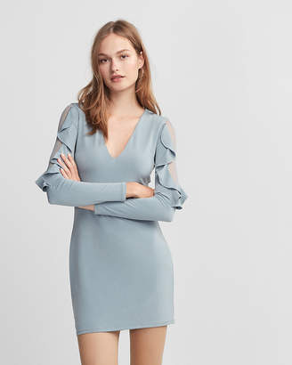 Express Ruffle Sleeve Mini Sheath Dress