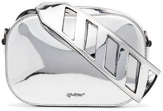 Off-White Metallic Cocco Crocodile Embossed Leather Camera Bag