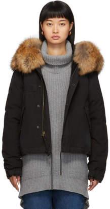 Mr & Mrs Italy Black Down Fur Cropped Jazzy Jacket
