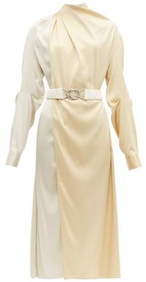 Bottega Veneta Draped Two Tone Belted Silk Satin Dress - Womens - Cream Multi