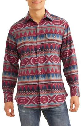 Plains Big And Tall Men's Long Sleeve Aztec Flannel Western Shirt