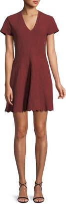 Jonathan Simkhai Matte Jacquard Short-Sleeve Mini Dress