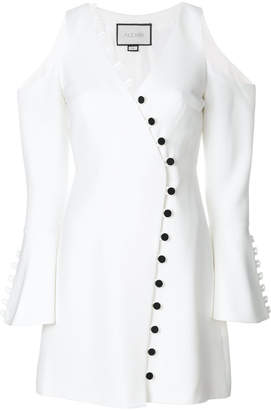 Alexis button detail crepe dress