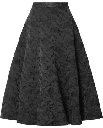 Co Embroidered Twill Midi Skirt - Black