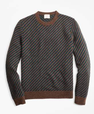 Brooks Brothers Diagonal-Stripe Alpaca-Blend Crewneck Sweater