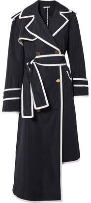 Thom Browne Asymmetric Grosgrain-trimmed Shell Trench Coat - Midnight blue