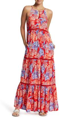 Red Carter Tiered Cover-Up Maxi Dress