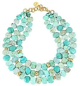 Nest 22K Goldplated& Chrysotine Triple Strand Necklace