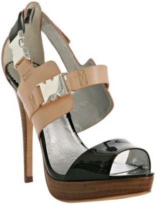 Report Signature black and nude patent 'Tocai' sandals