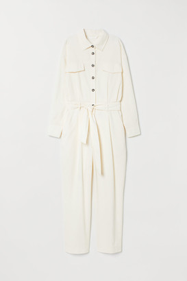 H&M Corduroy Overall - White