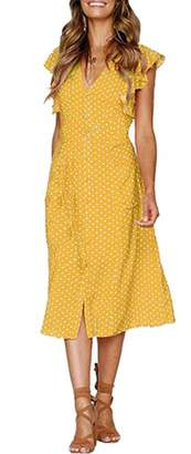 CLOUSPO Summer Dresses for Women Casual Button Polka Dot Sleeveless V Neck Swing Midi Dress (, L)
