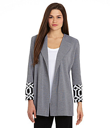 Misook Stripe Contrast-Cuff Jacket