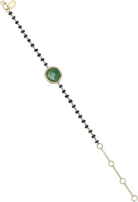 "Meira T 14K Gold"" Emerald"" and Blue Sapphire Bracelet"