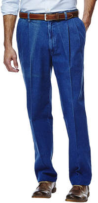 Haggar Work to Weekend Classic-Fit Pleated Denim Pants