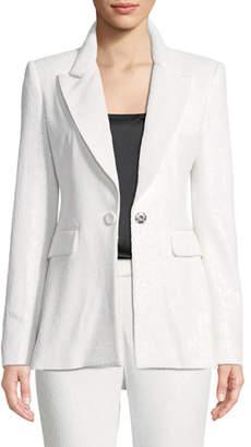 Rachel Zoe Amber One-Button Sequin Blazer