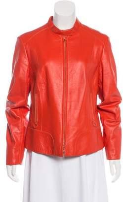 Akris Punto Leather Zip-Up Jacket