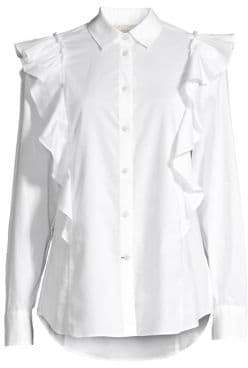 Kate Spade Broome Street Ruffled Cotton Poplin Shirt