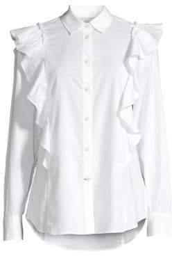 Kate Spade Broome Street Ruffled Cotton Poplin Shirt