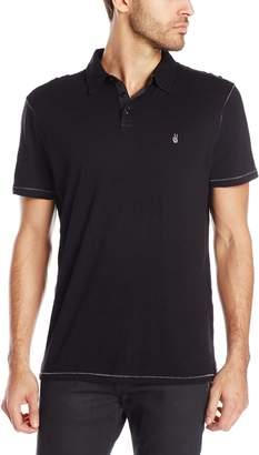 John Varvatos Star Men's Slub Short Sleeve Polo With Pick Stitch And Peace Logo