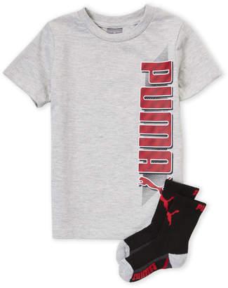 Puma Boys 4-7) Two-Piece Grey Logo Tee & Crew Socks Set