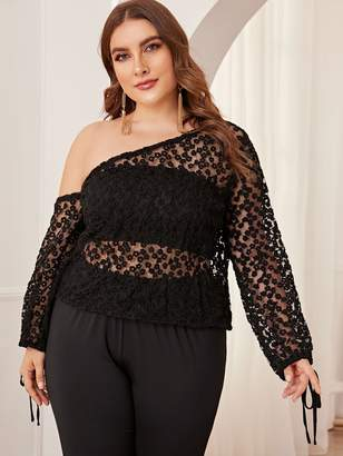 Shein Plus Mesh Embroidery Asymmetrical Sheer Top Without Bra