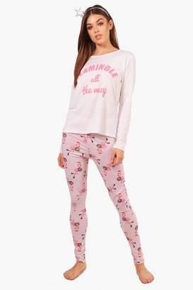boohoo Abbie Pink Flamingle Christmas Long Sleeve & legging Set