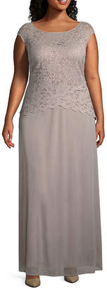 Onyx Nites Sleeveless Lace Evening Gown - Plus