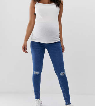 New Look Maternity Materntiy over bump ripped skinny jeans in blue