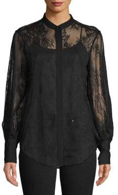 Equipment Lace Long-Sleeve Blouse