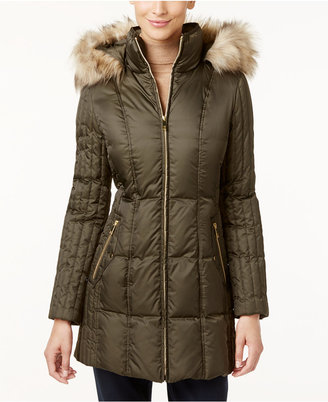 INC International Concepts Faux-Fur-Trim Quilted Puffer Coat, Only at Macy's $245 thestylecure.com